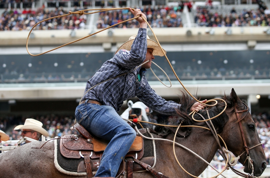 Caleb Smidt competing at the Calgary Stampede